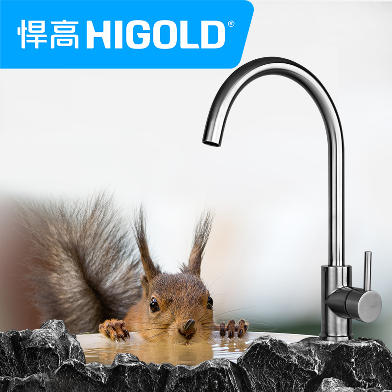 Higold/defended high genuine new pure 304 stainless steel non rotating copper kitchen faucet hot and cold water dragon head free shipping
