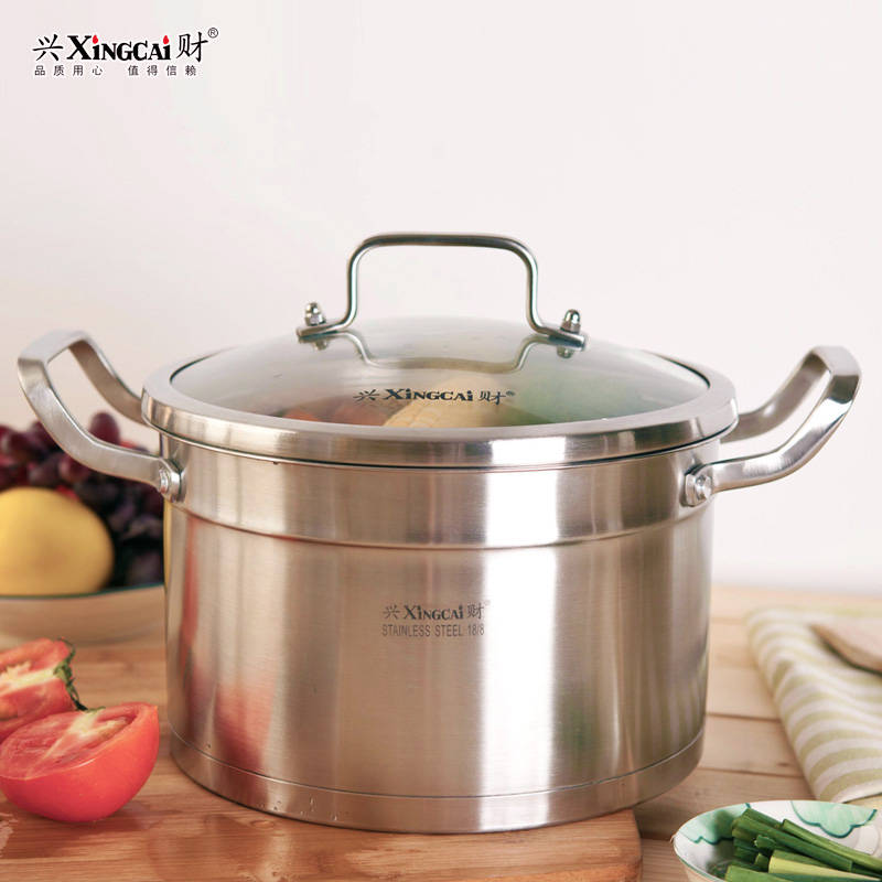 Hing choi 304 stainless steel soup pot stew pot three composite steel multi cooker gas cooker with 22 cm