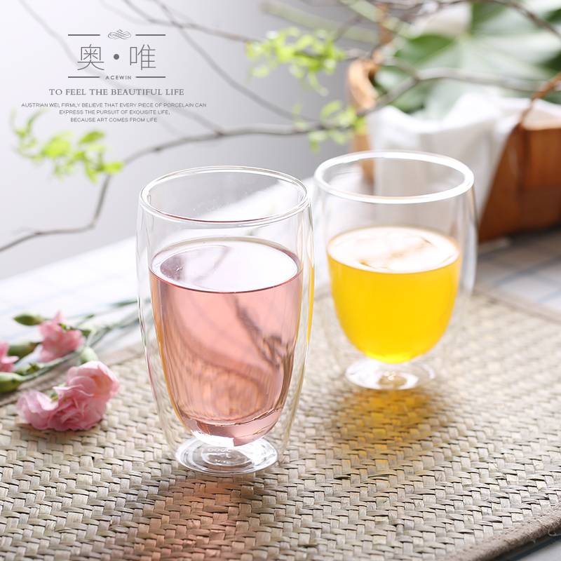 Home insulation cup double glass cups cup lemon juice cup transparent glass cup beverage cup creative cup cold