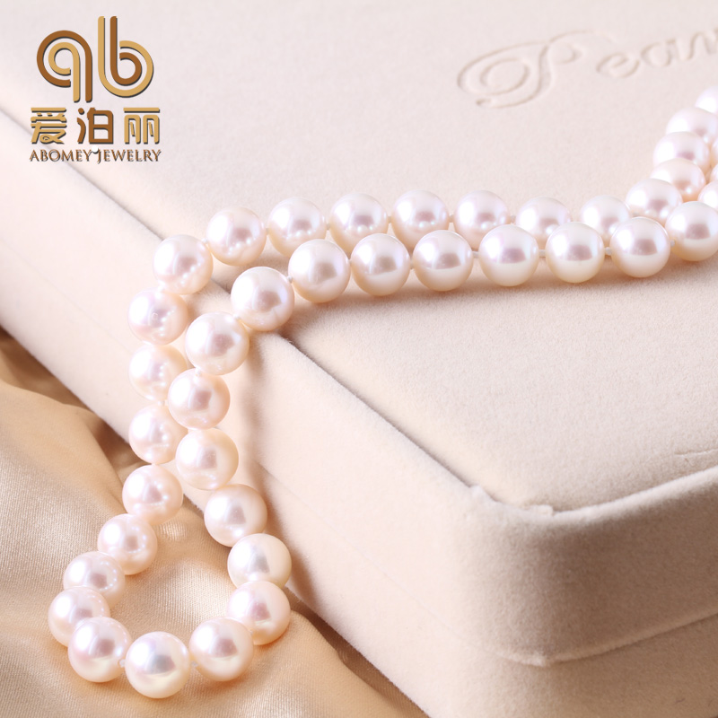 Homepage lai noble gift perfect circle aaaa 9mm japanese natural seawater pearl necklace genuine