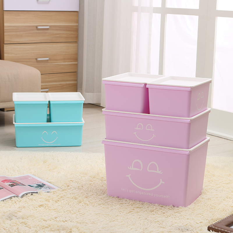 Honey honey flower colorful plastic storage box covered plastic storage box finishing debris box storage box cosmetic storage box family of four