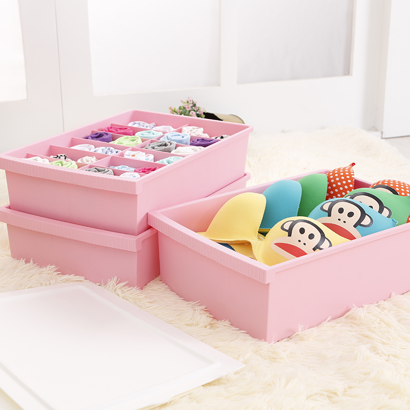 Honey honey flower new underwear storage box covered three sets of three socks bra underwear drawer plastic storage box