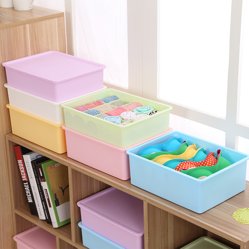 Honey honey flower thick plastic three sets of underwear storage box bra underwear socks underwear storage box finishing box covered
