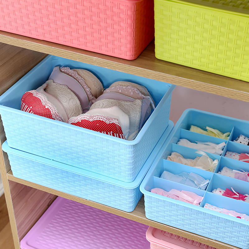 Honey honey flower underwear storage box thickened imitation rattan covered storage box bra underwear socks finishing box plastic storage box