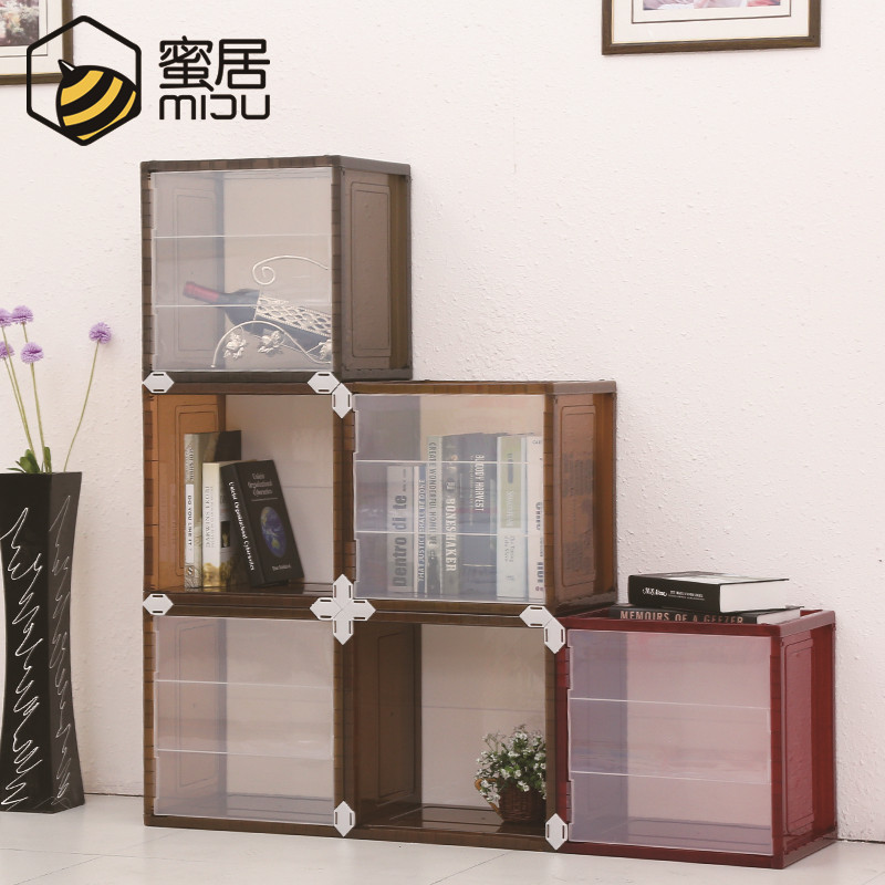 Honey ranks plastic wardrobe simple children's storage box lockers with doors korean combination shoe storage cabinets thickened