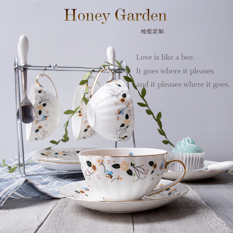 Honeybee gardens british european ceramic coffee cup suit phnom penh creative bone china coffee tea cup and saucer spoon