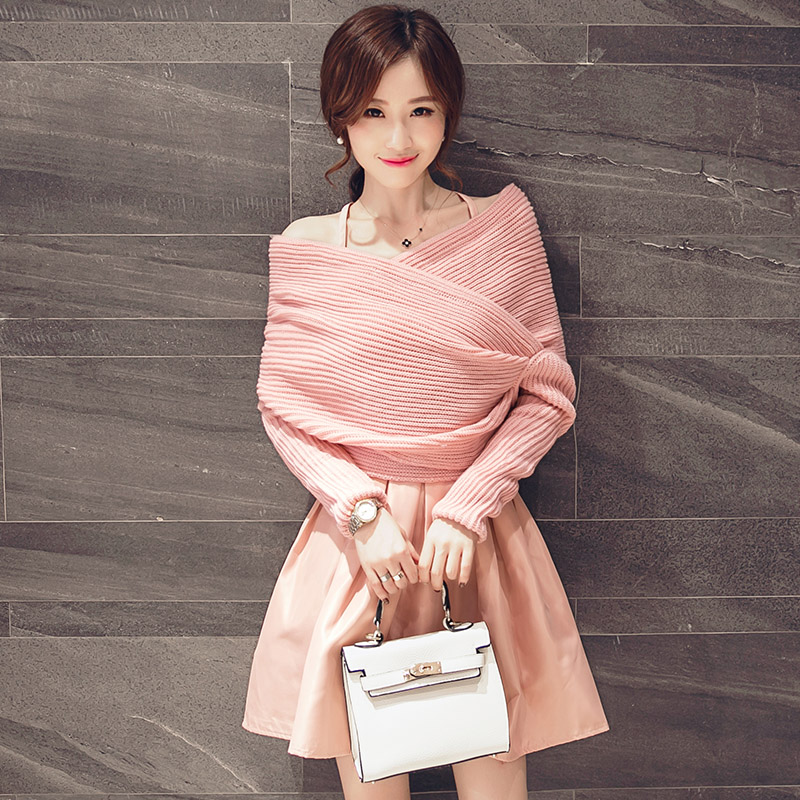 Hong chan 2016 hitz knit sweater small fragrant wind piece fitted in autumn and winter long sleeve dress tutu skirt autumn Female