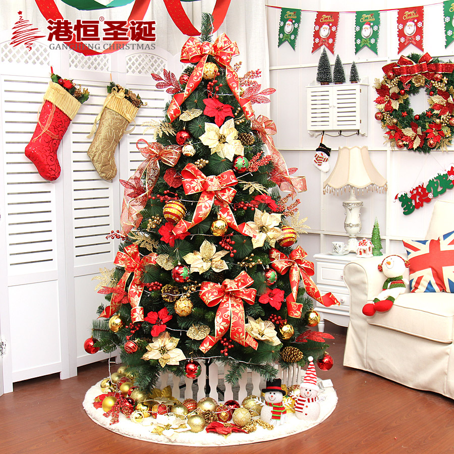 Hong kong hang christmas 1.5 m mixed leaf decorative gold and blue christmas tree package encryption christmas tree pine needles combo