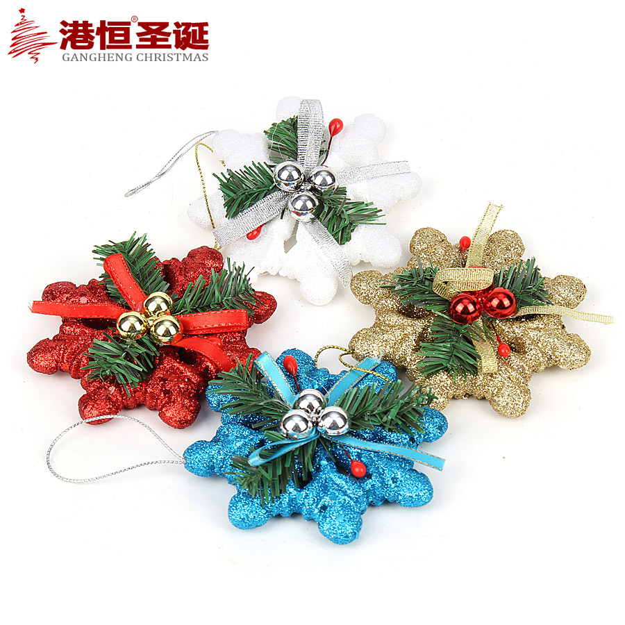 Hong kong hang christmas 10cm foam glitter stick decorated with colorful snowflake piece christmas decorations (4 pack) 40 G