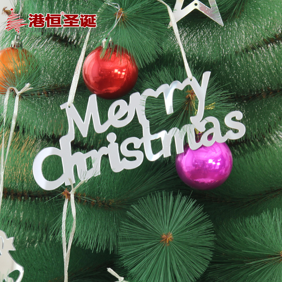 Hong kong hang christmas decorations light mirror plate 23cm letters merry christmas cards christmas tree decorations 32g
