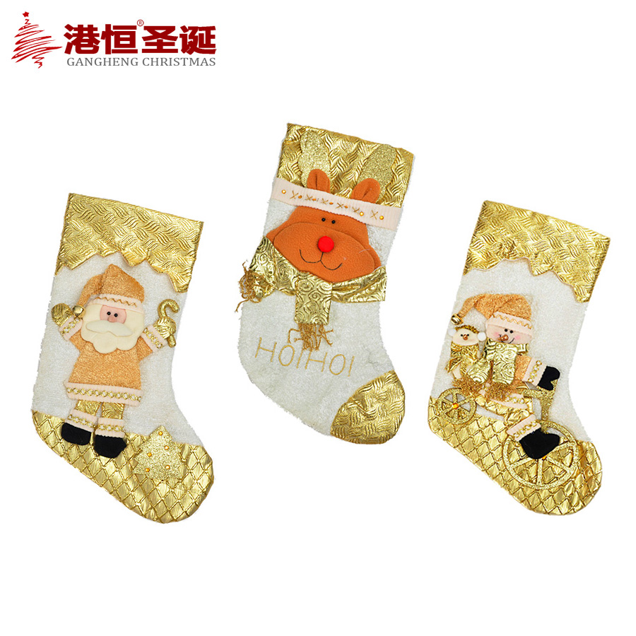 Hong kong hang christmas decorations plush three-dimensional christmas decorations christmas socks gift socks 75 x 26cm g