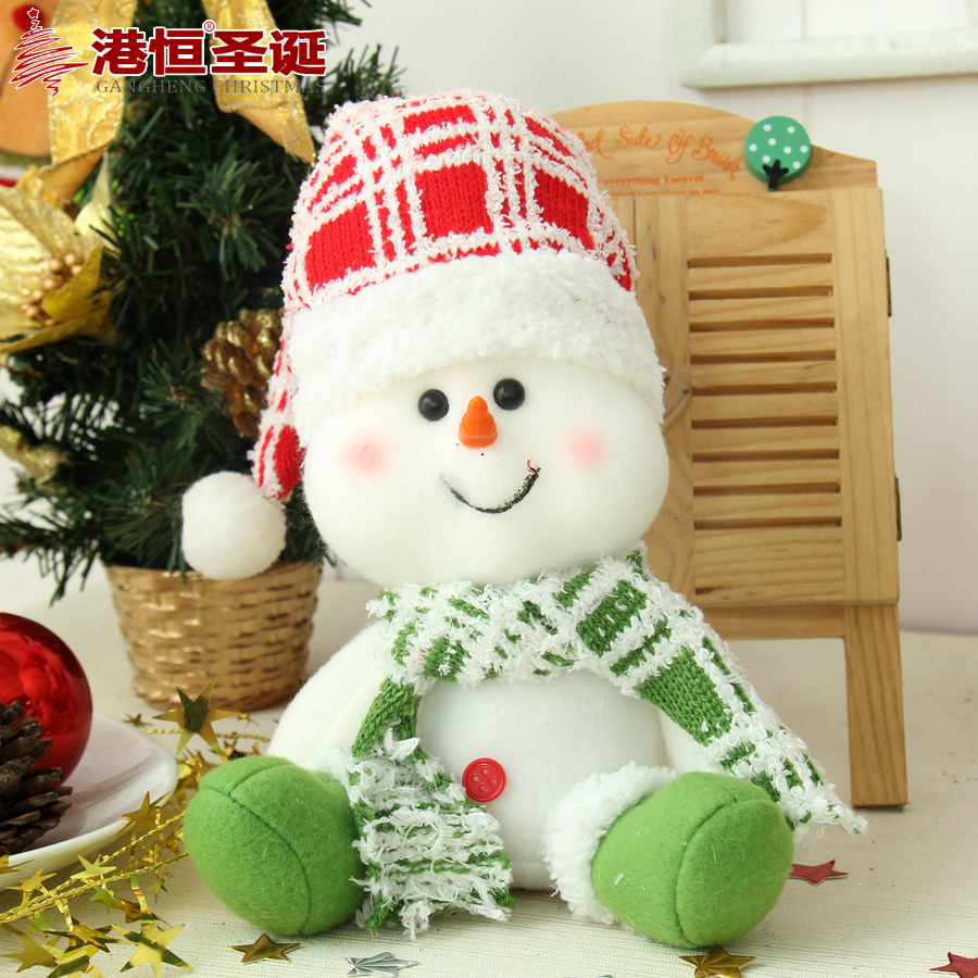 Hong kong hang christmas gifts x 16cm plush fabric snowman christmas decoration desktop pendulum based products 143g