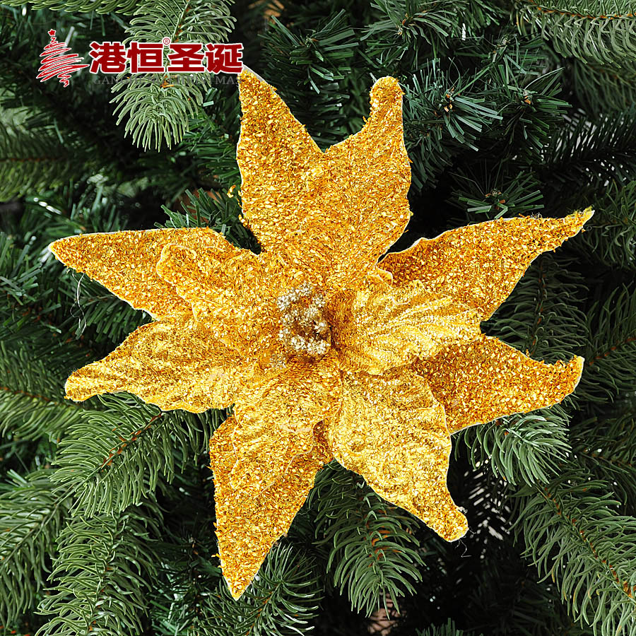 Hong kong hang christmas tree decorations 22cm gold velvet three christmas flowers christmas decorations 18g
