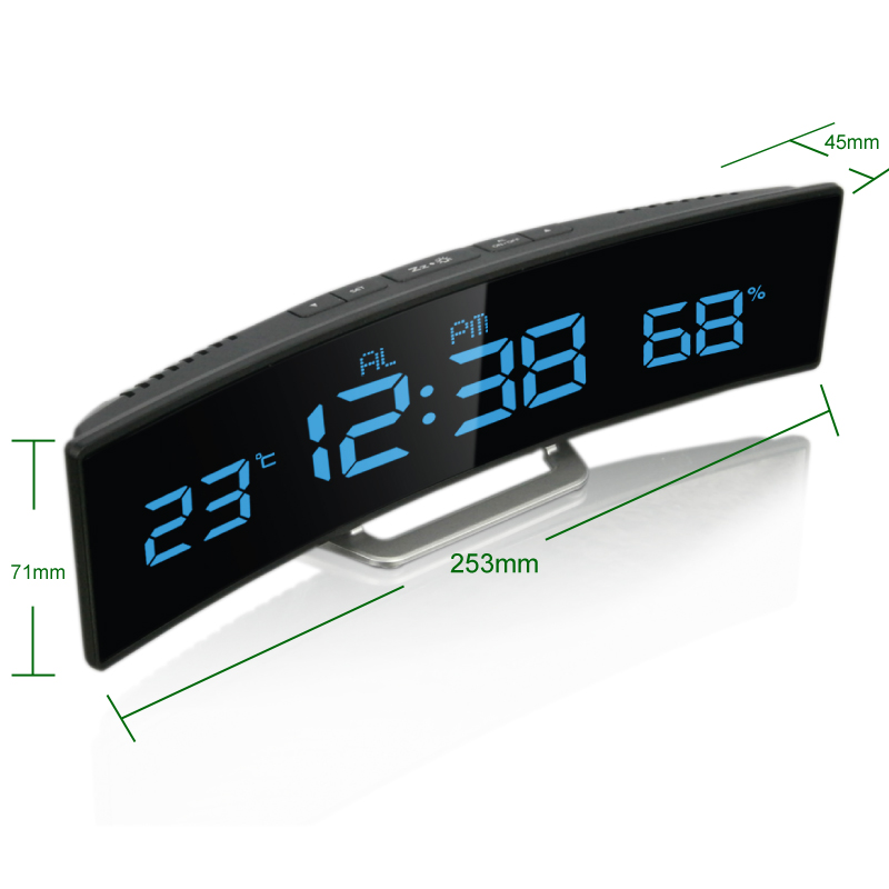 Hong kong nid authentic indoor temperature and humidity led home decoration novelty alarm clock table clock fashion creative arc shape design