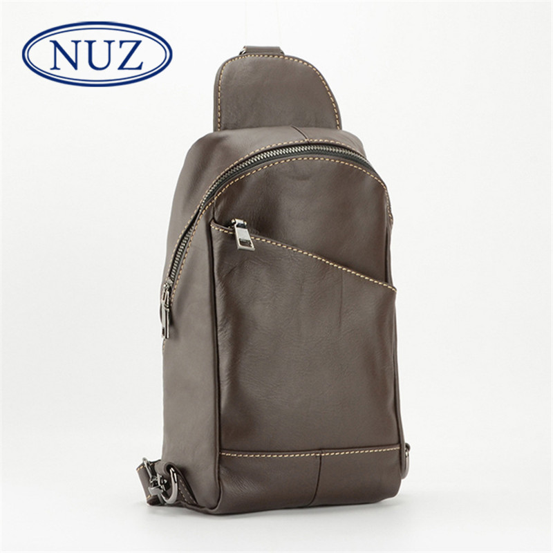Hong kong nuz brand first layer of leather men's chest pack multifunction leather shoulder bag retro fashion in europe and america 9082