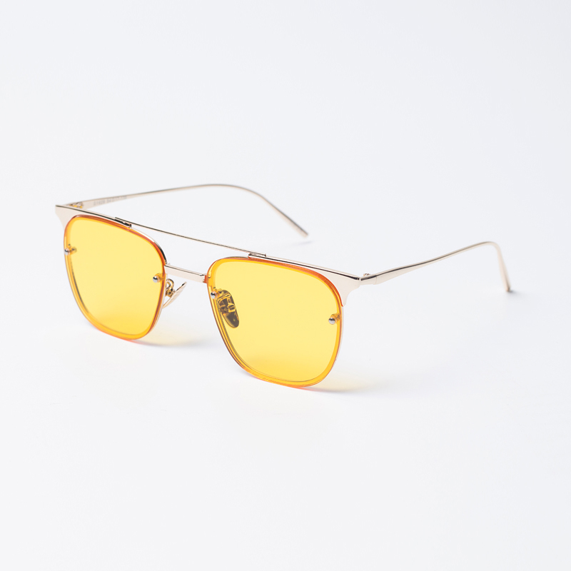 f304a1b0d0 Get Quotations · Hong kong style retro glass connive yellow square frame  perspective thin frame sunglasses sunglasses