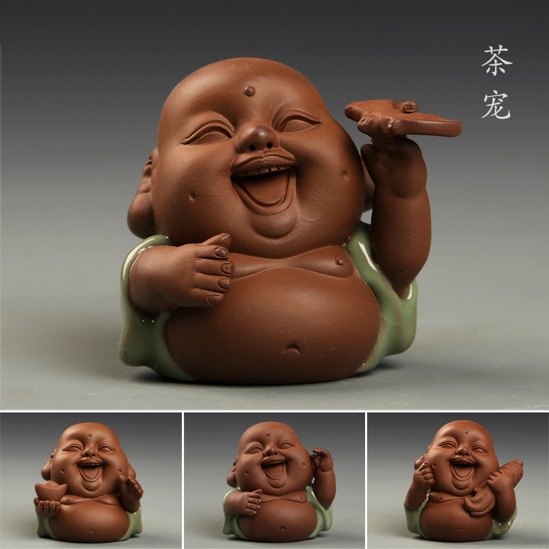 Hongbo pierre tea yixing tea pet ornaments playing haha buddha tea collection tea accessories boutique creative personality