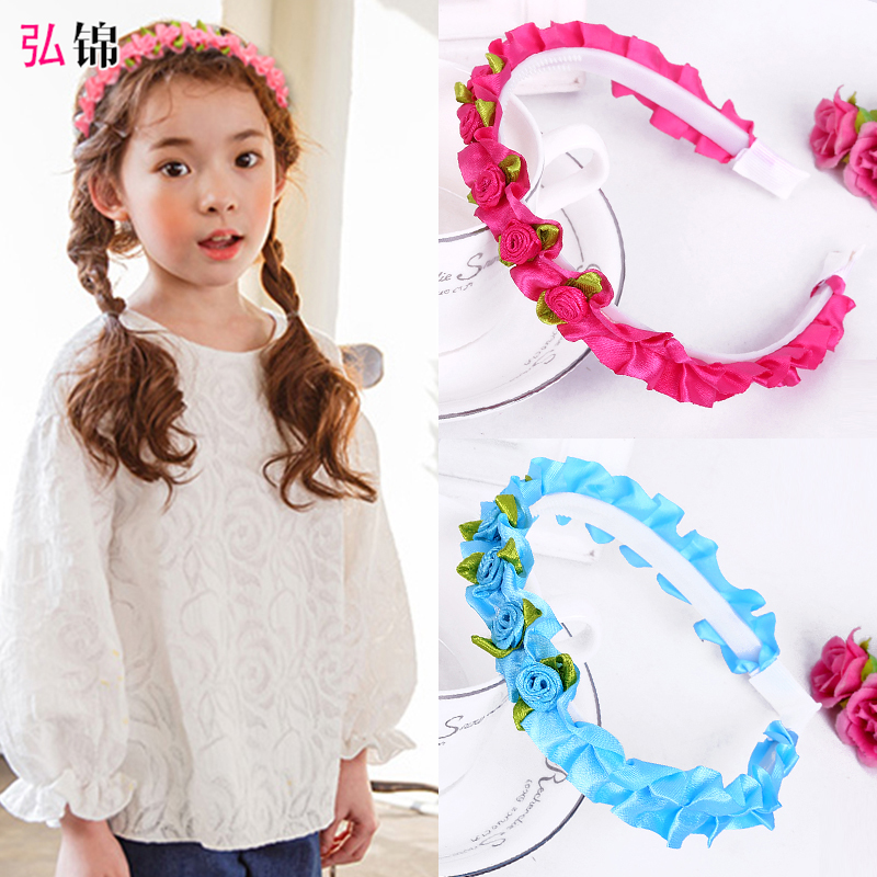 Hongjin lovely flowers children's hair bands korean floral princess baby girl headband head buckle hairpin headdress hair accessories