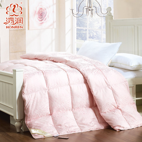 Hongrun textile grade fabrics thick winter duvet is 90% white goose down quilt double warm goose down duvet is the core