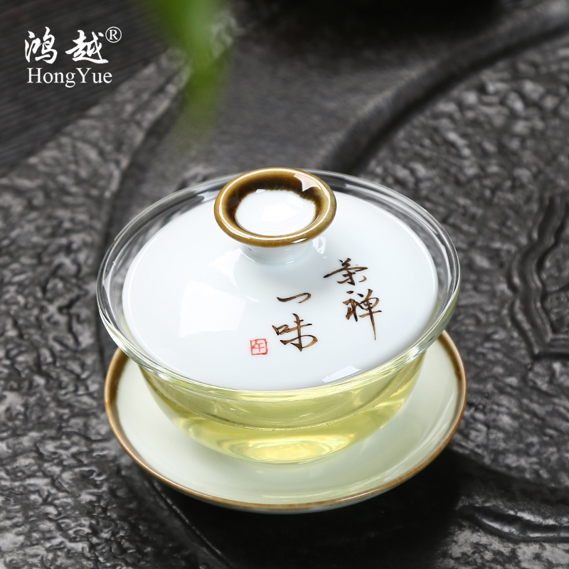 Hongyue bowl with god covered tea cup heat resistant glass painted glass tea tea filter kung fu tea teacup special offer free shipping