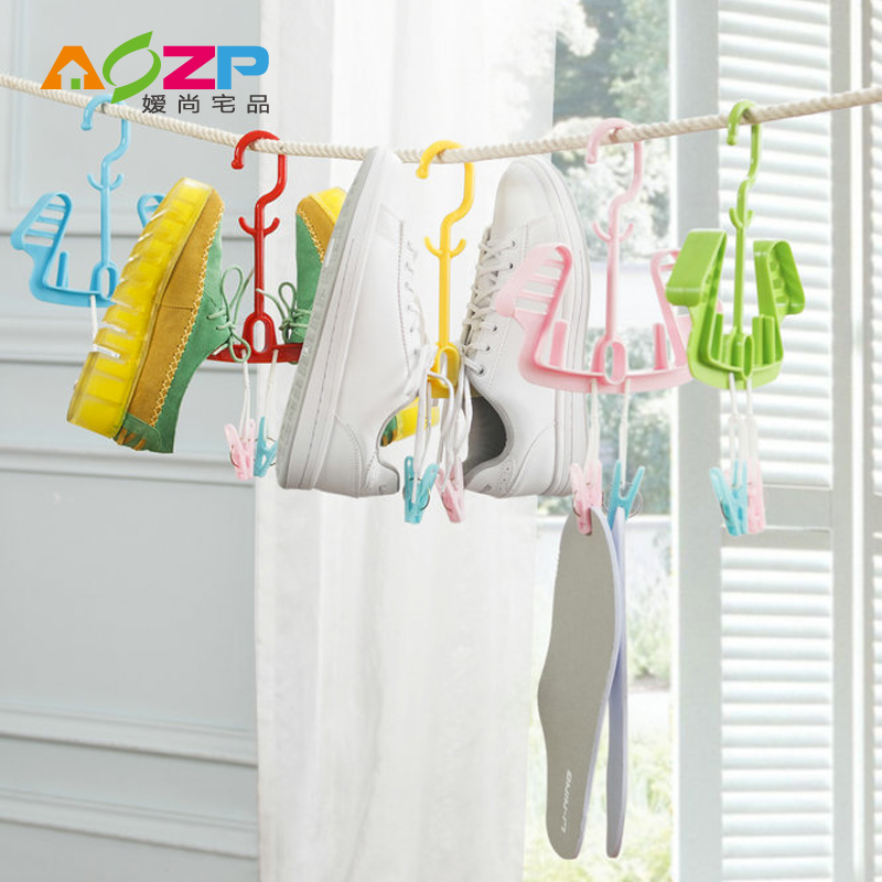 Hook sun hanging shoe rack hanging shoe rack shoe rack shelf outdoor balcony hanger hanger versatile windproof double hook hanging drying shoes Plastic