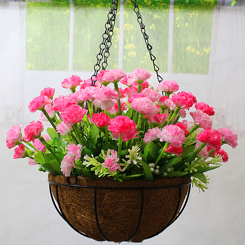 Hot simulation flower ceiling decoration artificial flowers roses bouquet carnation iron basket spider silk flower floral suit