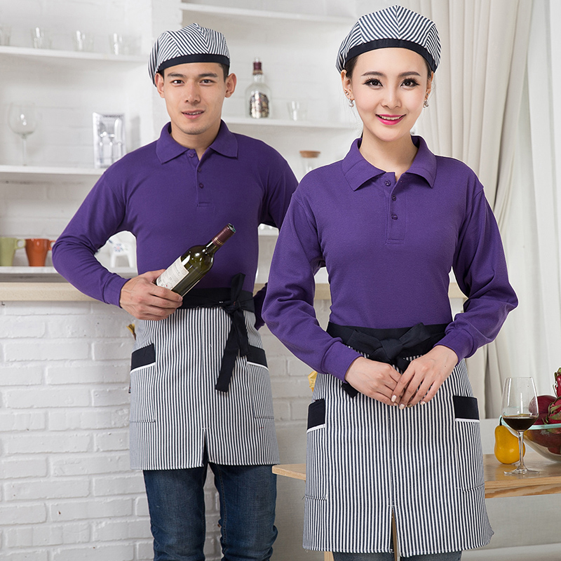 Hotel and catering chef waiter overalls sleeved t-shirt custom pot snack shop in autumn and winter clothes for men and women