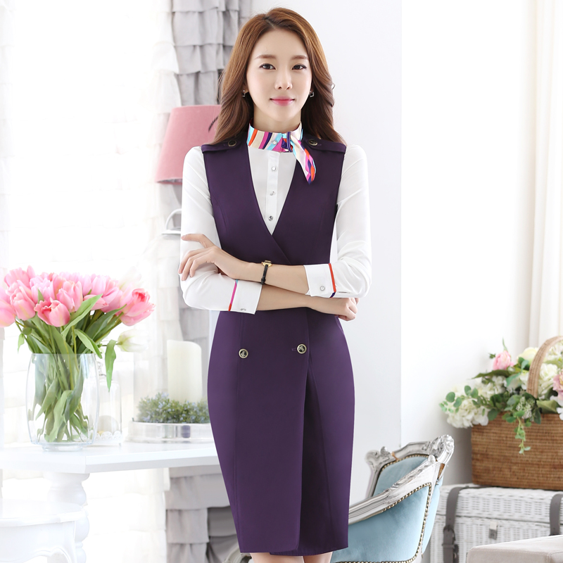 Hotel lobby manager reception vest mall shopping guide overalls fall and winter clothes women cashier sleeved uniforms big yards