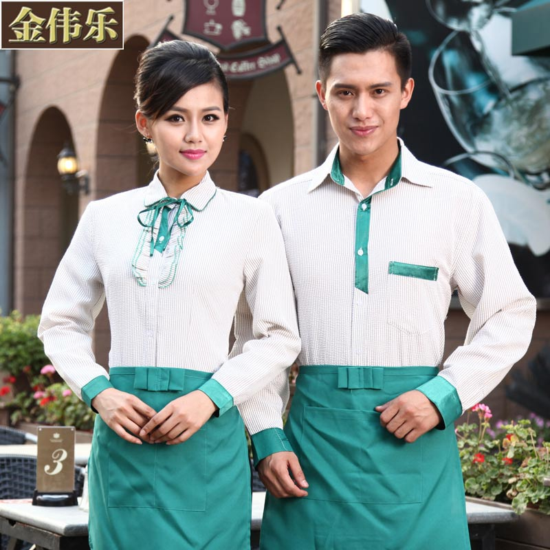 Hotel overalls fall and winter clothes farmhouse restaurant waiter overalls pot shop tea shop staff tooling men and women