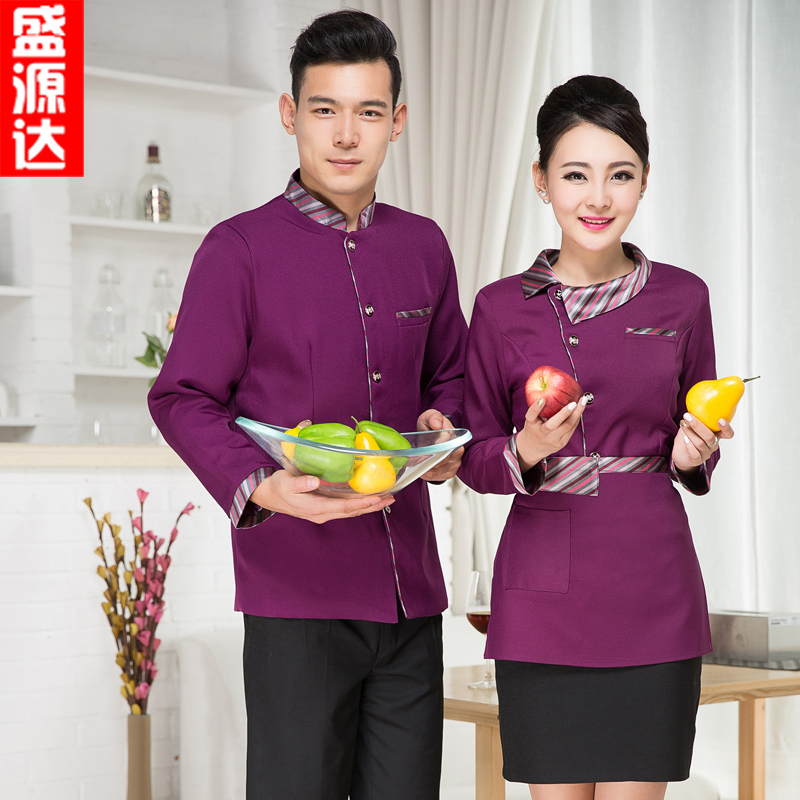 Hotel overalls fall and winter clothes female hotel restaurant hot pot restaurant restaurant waiter sleeved men tooling uniform