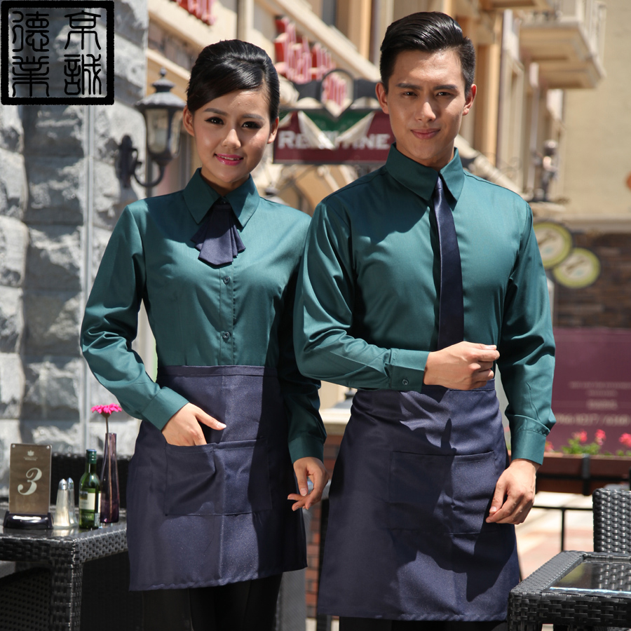 Hotel overalls fall and winter clothes hotel restaurant waiter sleeved overalls hotel restaurant sleeved overalls female