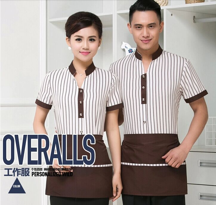 Hotel uniforms female hotel restaurant hot pot restaurants meal drinks waiter sleeved overalls overalls summer clothes suit