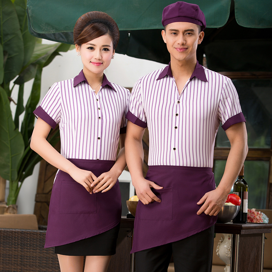 Hotel uniforms female summer hotel restaurant fast food restaurant hotel coffee restaurant waiter uniforms short sleeve men