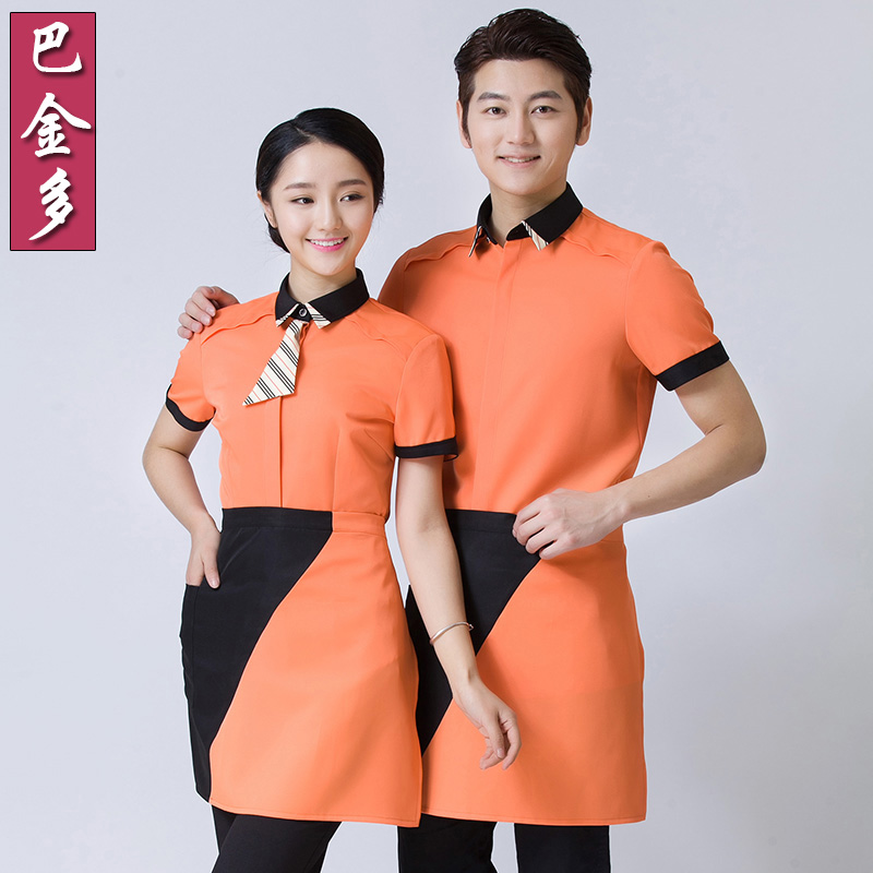 Hotel uniforms female summer hotel restaurant hot pot restaurant waiter sleeved overalls hotel restaurant overalls summer