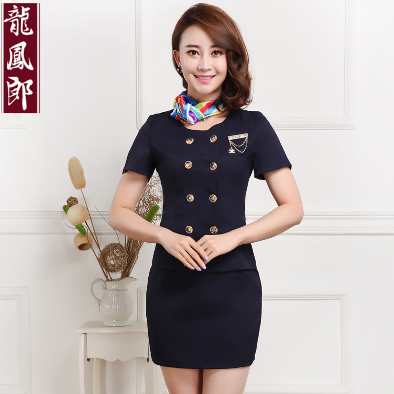 Hotel uniforms summer stewardess uniforms career suits cashier sleeved uniforms beautician overalls