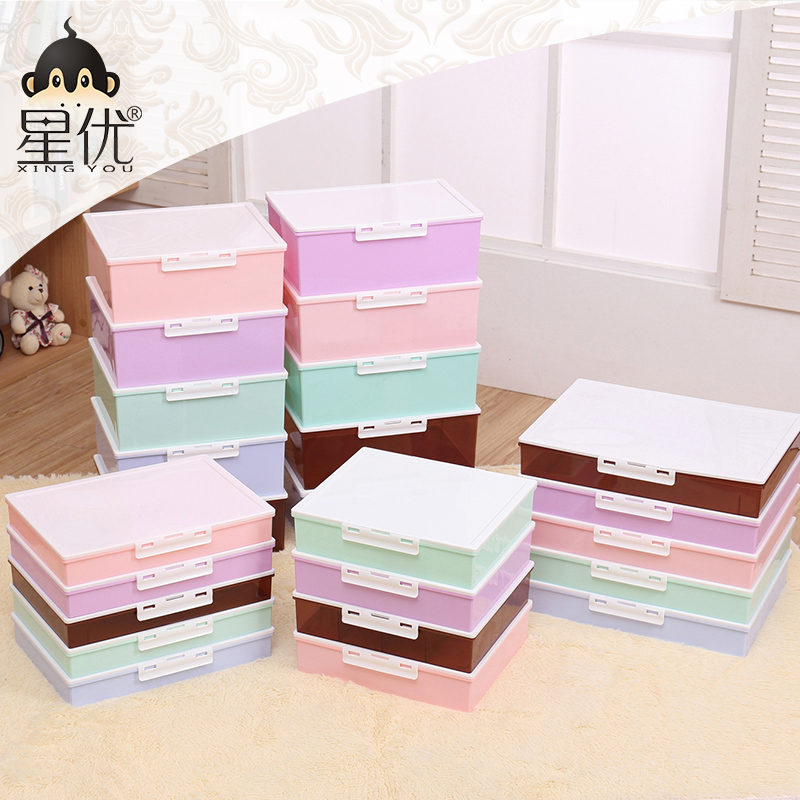 Household plastic storage box underwear bra underwear socks finishing box covered storage box shirt box large shoebox