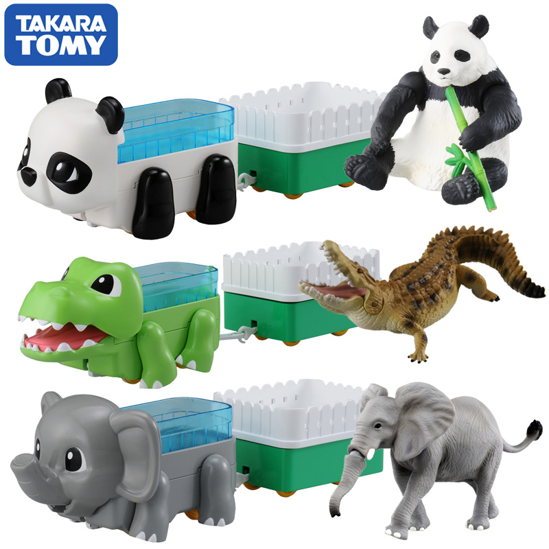 How beautiful card tomy annly sub male toy animal model truck simulation animal set car panda elephant crocodile