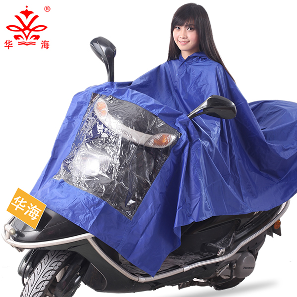 Huahai transparent raincoat large brim single motorcycle raincoat poncho electric car battery car raincoat increased thickening