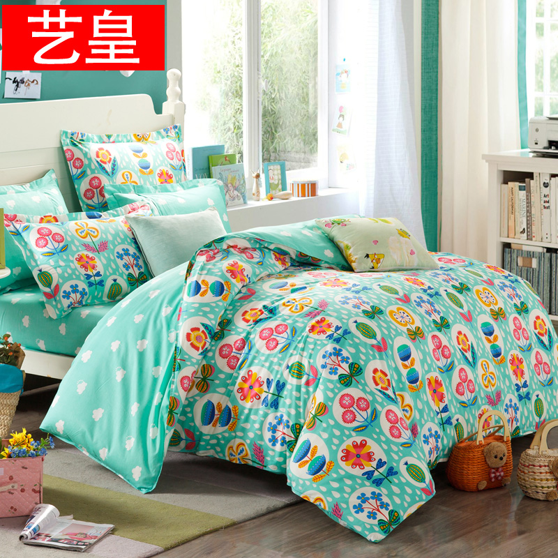 Huang yi cotton twill linen quilt cotton bedding a family of four simple bed 1.5m1.8 m 4 sets of goods