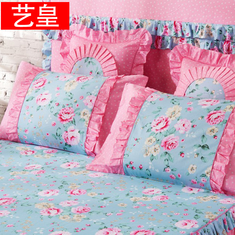 Huang yi new korean cotton pillowcase pillowcases one pair of dress 48 * 74cm cotton printed single student pillow core sets