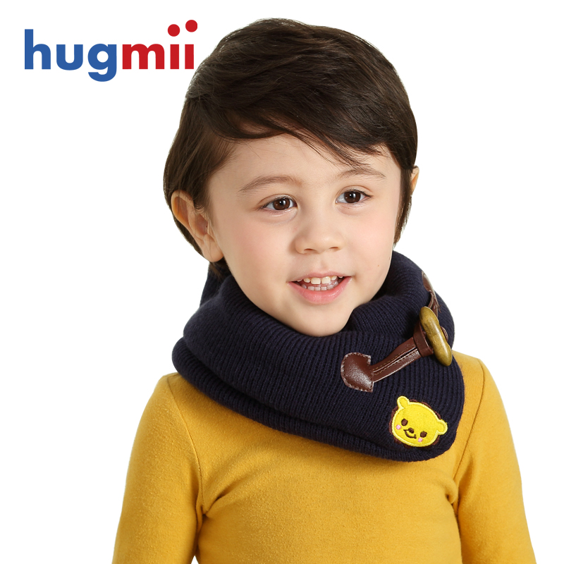 Hugmii children fall and winter scarves scarf scarf baby boys and girls horn button winter season warm scarf korean version of the retro
