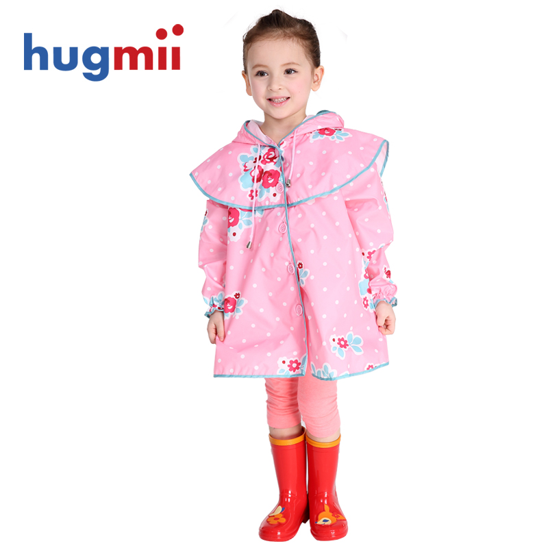 Hugmii children raincoat rain boots flowers baby girls students with schoolbag bit poncho suit free shipping