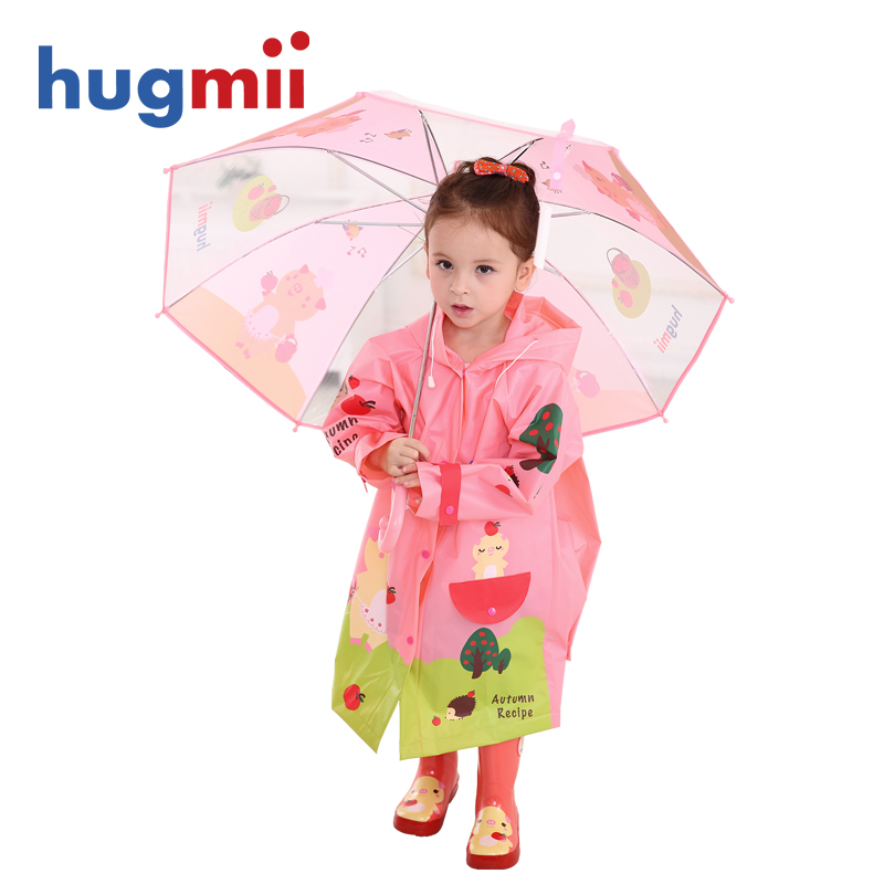Hugmii environmental children's umbrella raincoat rain boots rain gear three sets of korean boys and girls primary school children