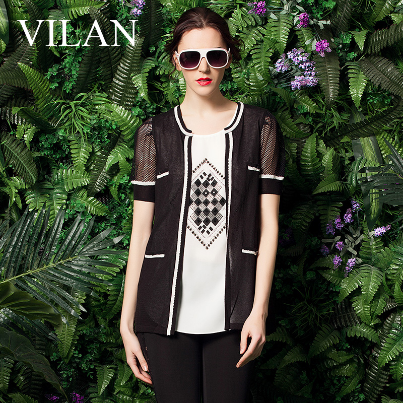 Huilan 2015 summer new authentic korean version of the loose short sleeve knit open air conditioning shirt sun shirt thin coat female