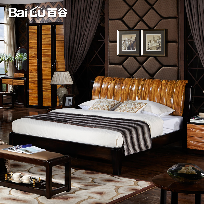 Hundred valleys wood bed 1.8 m double marriage bed adult wood bed minimalist modern chinese solid wood furniture a07