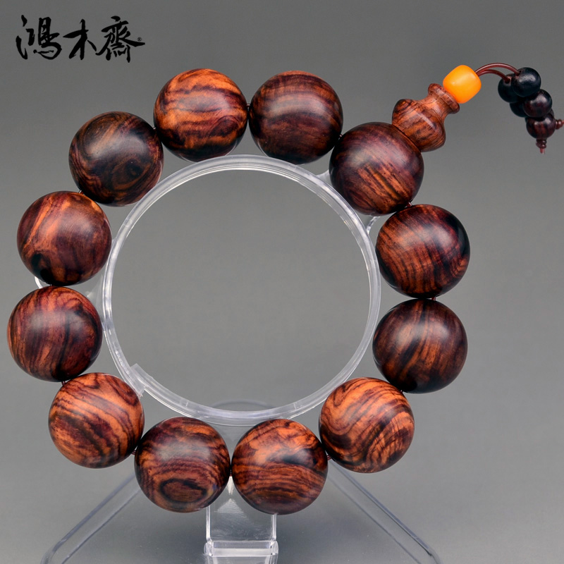Hung vegetarian hainan yellow rosewood bracelets 19MM mens avocado old root material sea yellow beads solitary