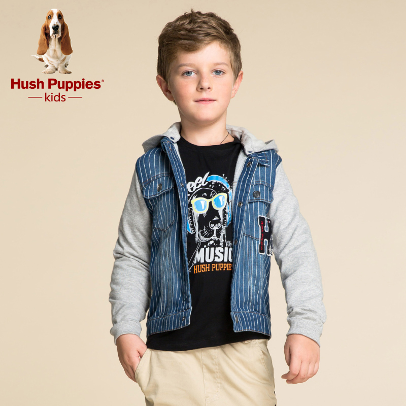 Hush puppies brand children's clothing boys long sleeve coat 2016 big boy fall and winter baseball uniform printing new fashion boutique