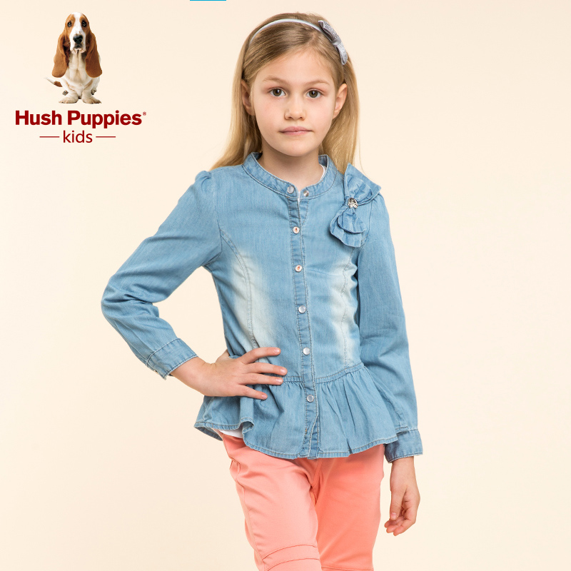 Hush puppies brand children's clothing girls denim shirt 2016 big boy new winter long sleeve solid color bow boutique