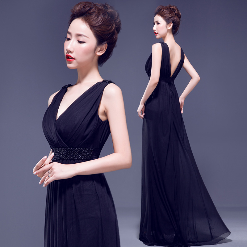 Hyun dance dream black shoulder deep v sexy fashion 2015 new wedding dress evening dress presided over the annual meeting