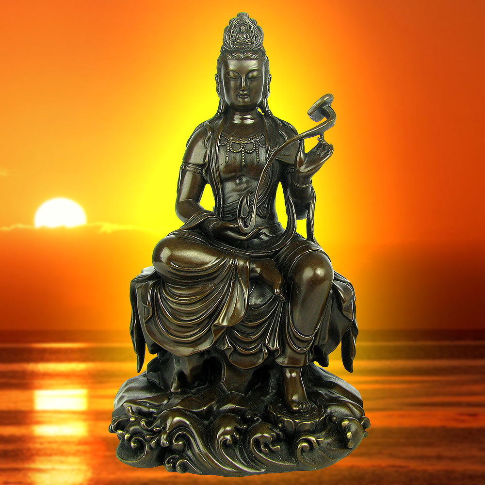 Hyun public court eight natal buddha patron saint of manjushri copper feng shui